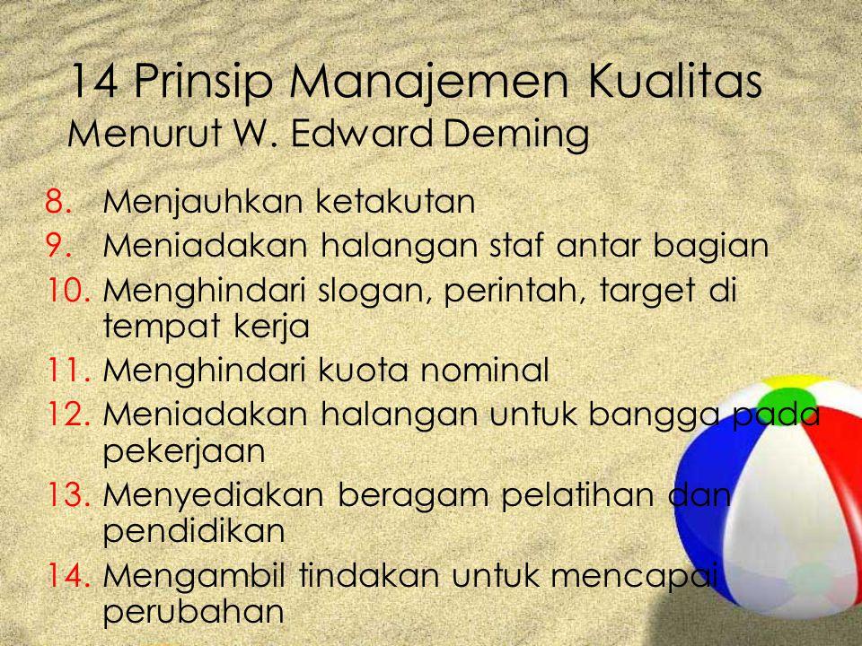 14 Prinsip Manajemen Kualitas Menurut W. Edward Deming 8.Menjauhkan ketakutan 9.Meniadakan halangan staf antar bagian 10.Menghindari slogan, perintah,