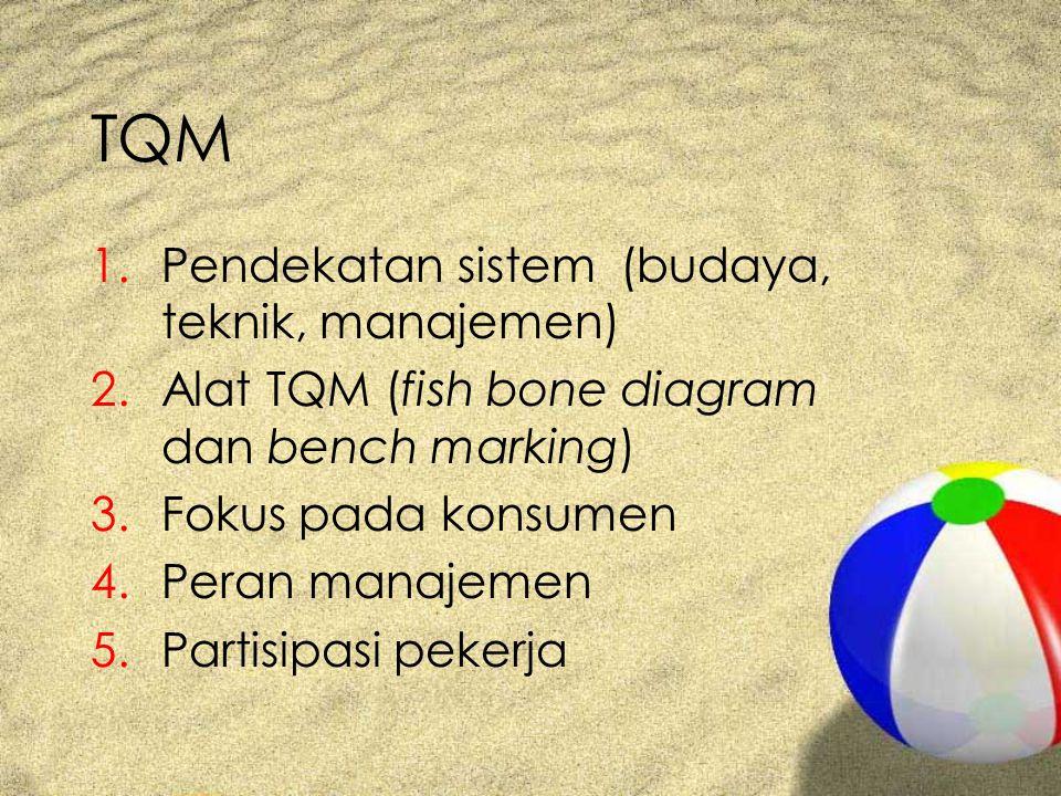 TQM 1.Pendekatan sistem (budaya, teknik, manajemen) 2.Alat TQM (fish bone diagram dan bench marking) 3.Fokus pada konsumen 4.Peran manajemen 5.Partisi