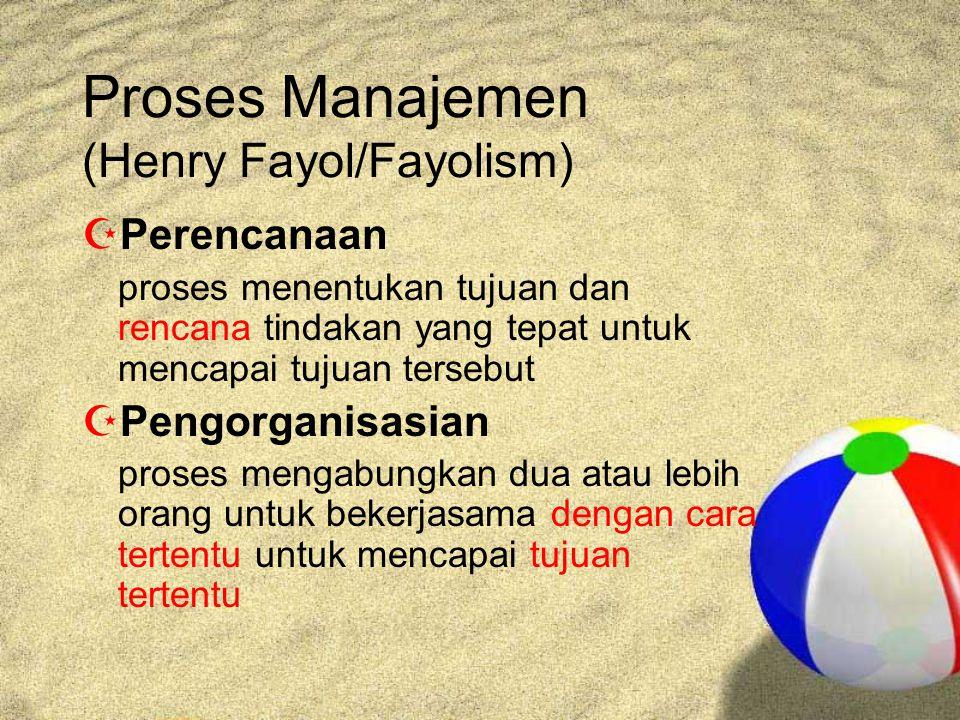 Proses Manajemen (Henry Fayol/Fayolism)  Perencanaan proses menentukan tujuan dan rencana tindakan yang tepat untuk mencapai tujuan tersebut  Pengorganisasian proses mengabungkan dua atau lebih orang untuk bekerjasama dengan cara tertentu untuk mencapai tujuan tertentu