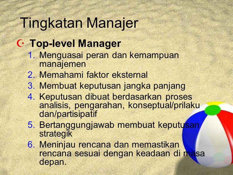 Tingkatan Manajer  Top-level Manager 1.Menguasai peran dan kemampuan manajemen 2.Memahami faktor eksternal 3.Membuat keputusan jangka panjang 4.Keputusan dibuat berdasarkan proses analisis, pengarahan, konseptual/prilaku dan/partisipatif 5.Bertanggungjawab membuat keputusan strategik 6.Meninjau rencana dan memastikan rencana sesuai dengan keadaan di masa depan.