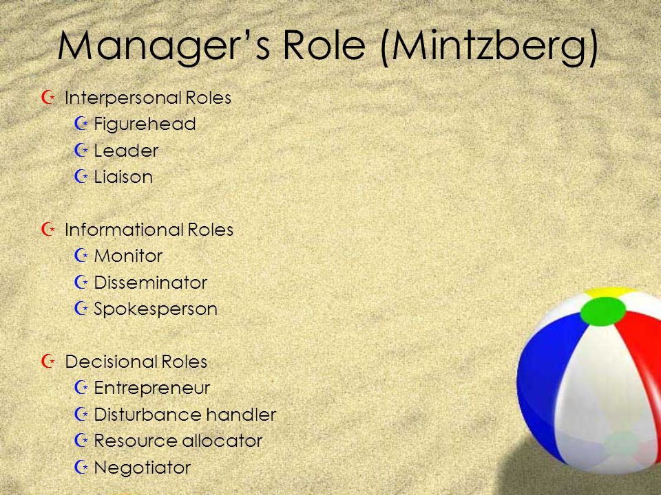 Manager's Role (Mintzberg) ZInterpersonal Roles ZFigurehead ZLeader ZLiaison ZInformational Roles ZMonitor ZDisseminator ZSpokesperson ZDecisional Rol