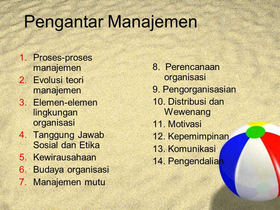 Pengantar Manajemen 1.Proses-proses manajemen 2.Evolusi teori manajemen 3.Elemen-elemen lingkungan organisasi 4.Tanggung Jawab Sosial dan Etika 5.Kewirausahaan 6.Budaya organisasi 7.Manajemen mutu 8.