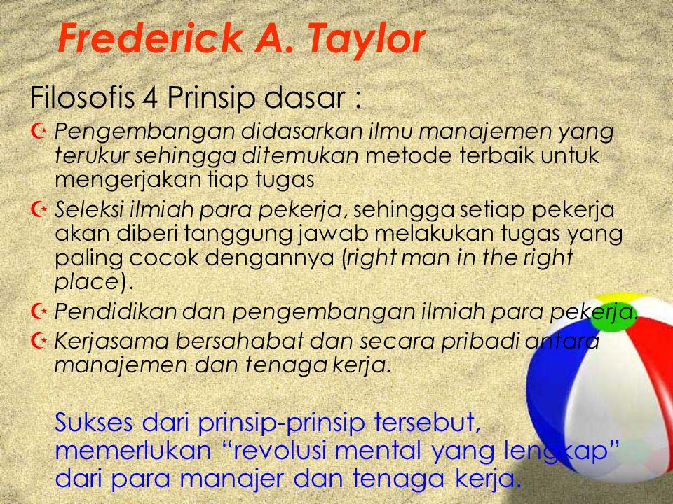 Frederick A. Taylor Filosofis 4 Prinsip dasar : ZPengembangan didasarkan ilmu manajemen yang terukur sehingga ditemukan metode terbaik untuk mengerjak
