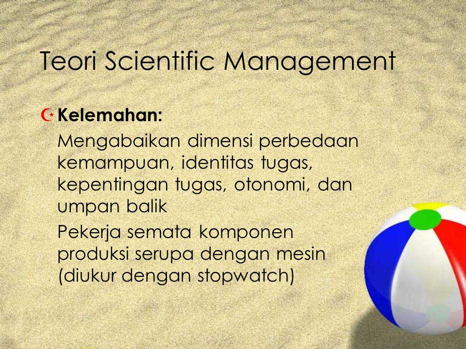 Teori Scientific Management Z Kelemahan: Mengabaikan dimensi perbedaan kemampuan, identitas tugas, kepentingan tugas, otonomi, dan umpan balik Pekerja