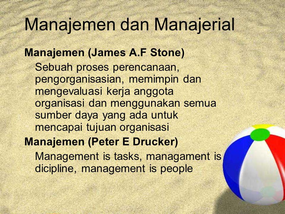 Manajemen dan Manajerial Manajemen (James A.F Stone) Sebuah proses perencanaan, pengorganisasian, memimpin dan mengevaluasi kerja anggota organisasi dan menggunakan semua sumber daya yang ada untuk mencapai tujuan organisasi Manajemen (Peter E Drucker) Management is tasks, managament is dicipline, management is people