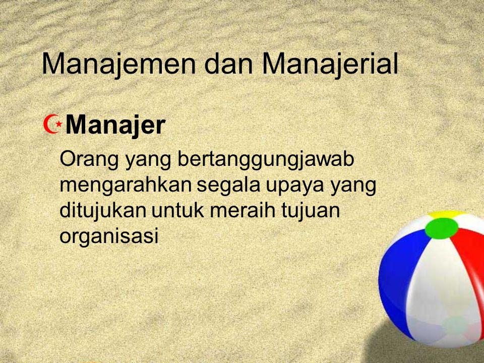 Tingkatan Manajer  Middle Manager 1.Memahami tugas-tugas manajerial tertentu 2.Bertanggungjawab melaksanakan tugas yang dibuat oleh top management  Lower Manager 1.Memastikan keputusan dan rencana yang dibuat dua level manajer di atasnya berjalan 2.Membuat keputusan jangka pendek