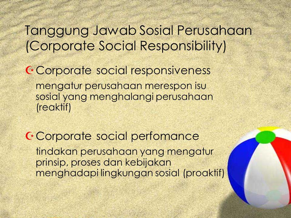 Tanggung Jawab Sosial Perusahaan (Corporate Social Responsibility) ZCorporate social responsiveness mengatur perusahaan merespon isu sosial yang menghalangi perusahaan (reaktif) ZCorporate social perfomance tindakan perusahaan yang mengatur prinsip, proses dan kebijakan menghadapi lingkungan sosial (proaktif)