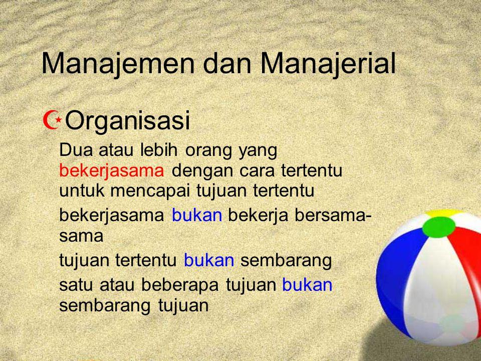 Manajemen dan Manajerial  Organisasi Dua atau lebih orang yang bekerjasama dengan cara tertentu untuk mencapai tujuan tertentu bekerjasama bukan bekerja bersama- sama tujuan tertentu bukan sembarang satu atau beberapa tujuan bukan sembarang tujuan