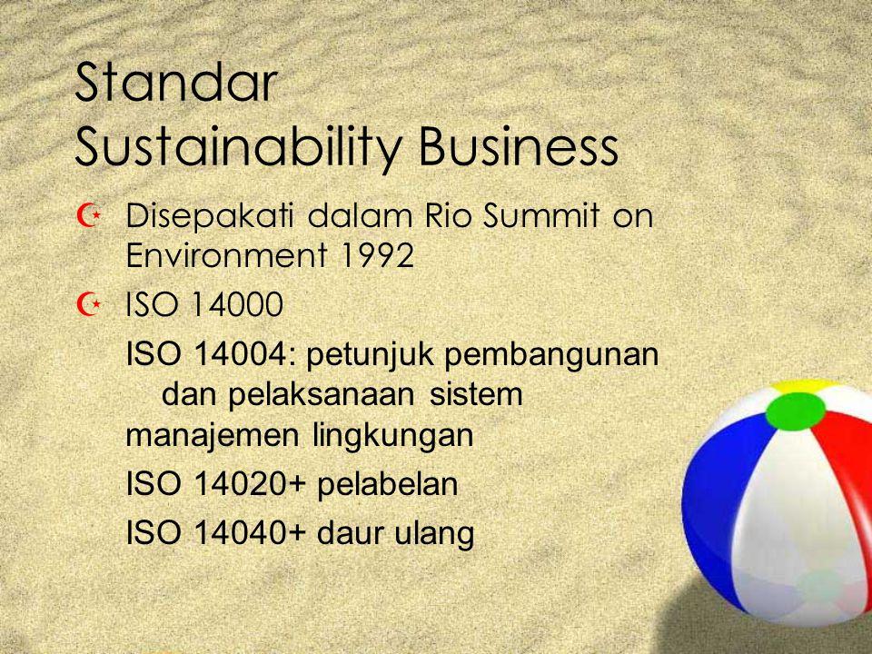 Standar Sustainability Business ZDisepakati dalam Rio Summit on Environment 1992 ZISO 14000 ISO 14004: petunjuk pembangunan dan pelaksanaan sistem manajemen lingkungan ISO 14020+ pelabelan ISO 14040+ daur ulang