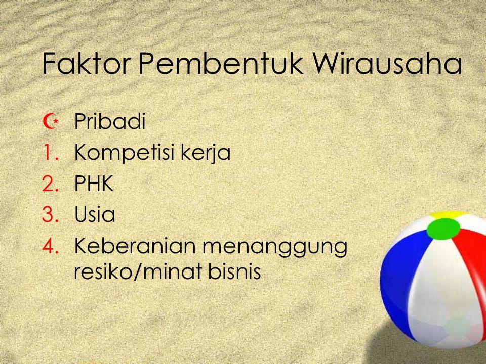 Faktor Pembentuk Wirausaha ZPribadi 1.Kompetisi kerja 2.PHK 3.Usia 4.Keberanian menanggung resiko/minat bisnis