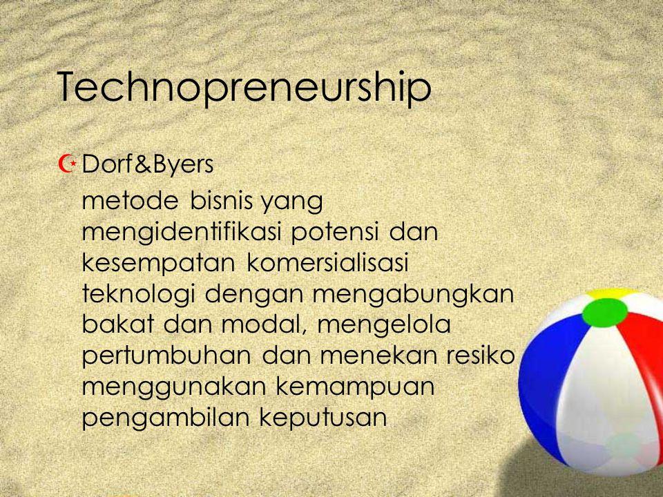 Technopreneurship ZDorf&Byers metode bisnis yang mengidentifikasi potensi dan kesempatan komersialisasi teknologi dengan mengabungkan bakat dan modal, mengelola pertumbuhan dan menekan resiko menggunakan kemampuan pengambilan keputusan