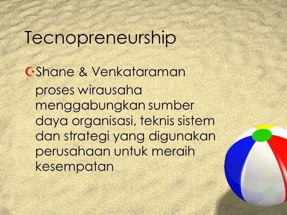 Tecnopreneurship ZShane & Venkataraman proses wirausaha menggabungkan sumber daya organisasi, teknis sistem dan strategi yang digunakan perusahaan untuk meraih kesempatan