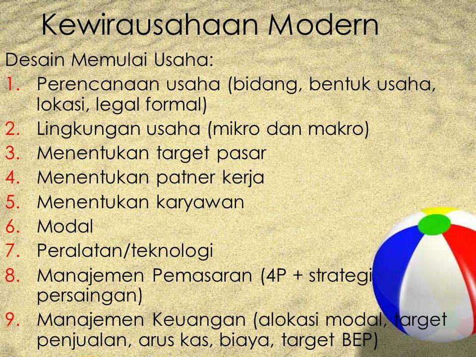 Kewirausahaan Modern Desain Memulai Usaha: 1.Perencanaan usaha (bidang, bentuk usaha, lokasi, legal formal) 2.Lingkungan usaha (mikro dan makro) 3.Men
