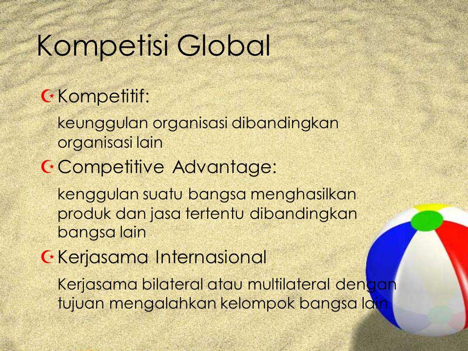 Kompetisi Global ZKompetitif: keunggulan organisasi dibandingkan organisasi lain ZCompetitive Advantage: kenggulan suatu bangsa menghasilkan produk dan jasa tertentu dibandingkan bangsa lain ZKerjasama Internasional Kerjasama bilateral atau multilateral dengan tujuan mengalahkan kelompok bangsa lain