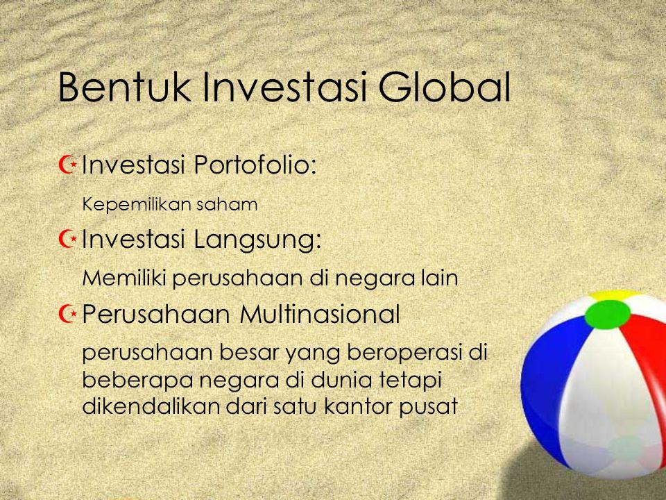 Bentuk Investasi Global ZInvestasi Portofolio: Kepemilikan saham ZInvestasi Langsung: Memiliki perusahaan di negara lain ZPerusahaan Multinasional perusahaan besar yang beroperasi di beberapa negara di dunia tetapi dikendalikan dari satu kantor pusat
