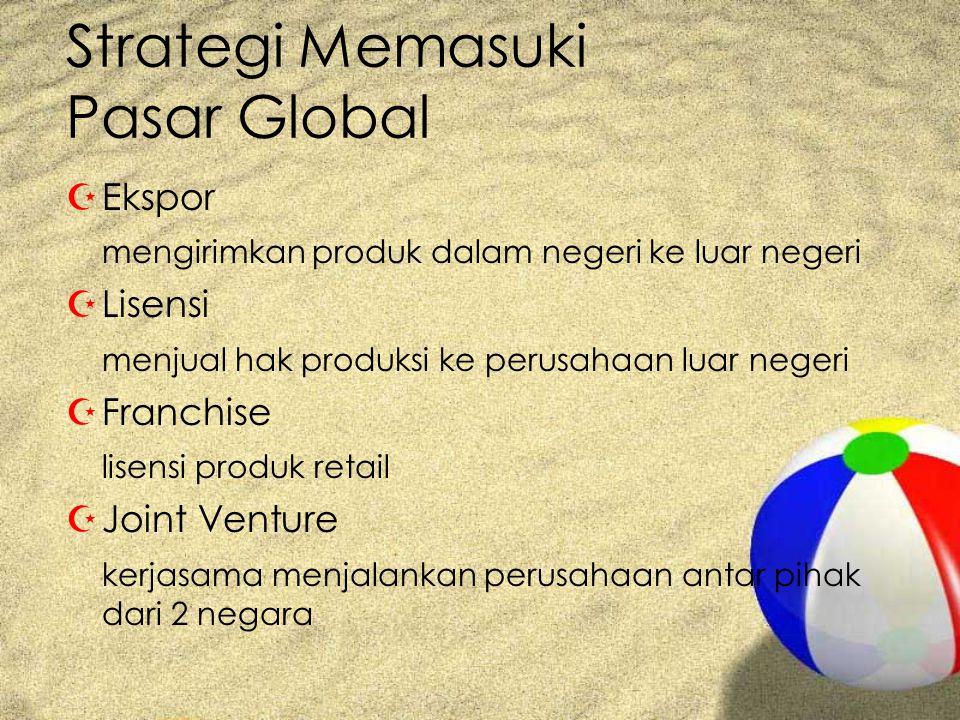 Strategi Memasuki Pasar Global ZEkspor mengirimkan produk dalam negeri ke luar negeri ZLisensi menjual hak produksi ke perusahaan luar negeri ZFranchise lisensi produk retail ZJoint Venture kerjasama menjalankan perusahaan antar pihak dari 2 negara