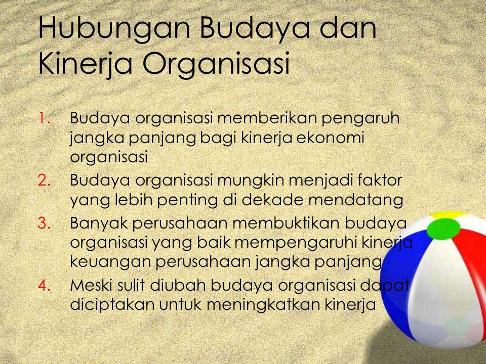Hubungan Budaya dan Kinerja Organisasi 1.Budaya organisasi memberikan pengaruh jangka panjang bagi kinerja ekonomi organisasi 2.Budaya organisasi mung