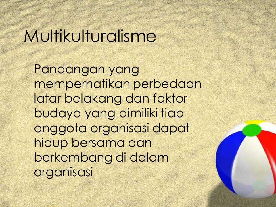 Multikulturalisme Pandangan yang memperhatikan perbedaan latar belakang dan faktor budaya yang dimiliki tiap anggota organisasi dapat hidup bersama dan berkembang di dalam organisasi