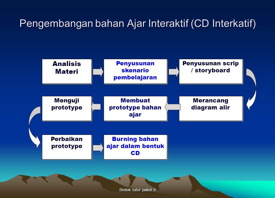 Pengembangan bahan Ajar Interaktif (CD Interkatif) Bintek tutor paket b Analisis Materi Penyusunan skenario pembelajaran Penyusunan scrip / storyboard