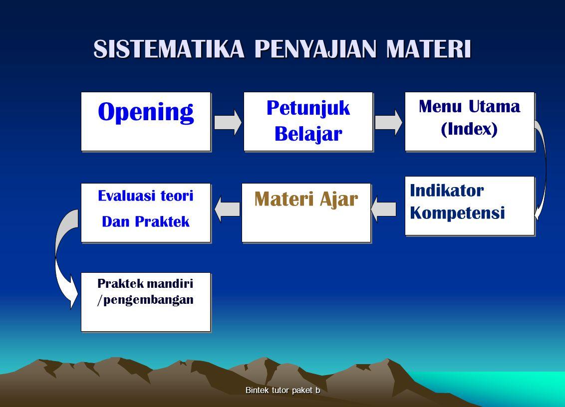 SISTEMATIKA PENYAJIAN MATERI Bintek tutor paket b Opening Petunjuk Belajar Menu Utama (Index) Praktek mandiri /pengembangan Materi Ajar Indikator Komp