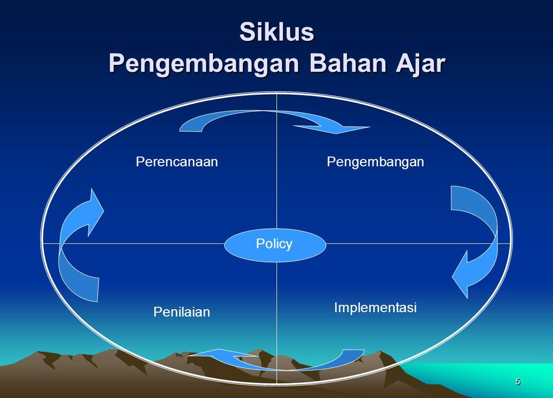 5 Siklus Pengembangan Bahan Ajar Perencanaan Penilaian Pengembangan Implementasi Policy