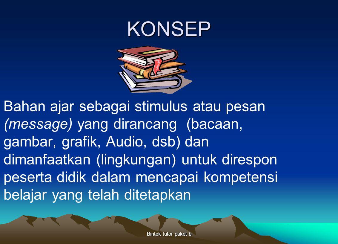 KONSEP Bahan ajar sebagai stimulus atau pesan (message) yang dirancang (bacaan, gambar, grafik, Audio, dsb) dan dimanfaatkan (lingkungan) untuk diresp