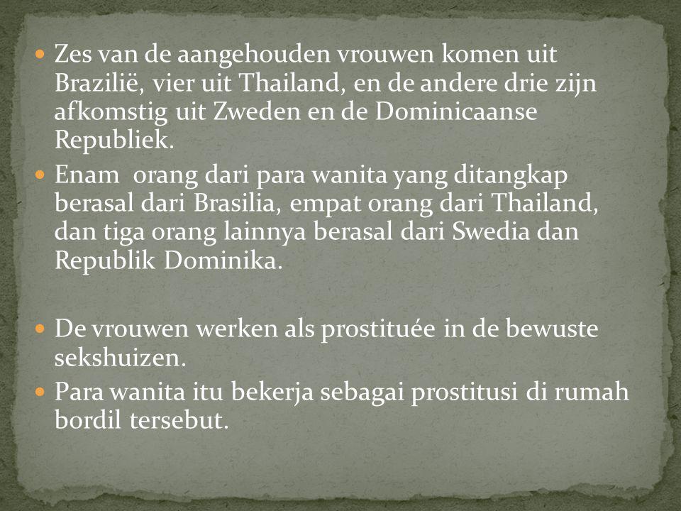 Zes van de aangehouden vrouwen komen uit Brazilië, vier uit Thailand, en de andere drie zijn afkomstig uit Zweden en de Dominicaanse Republiek.