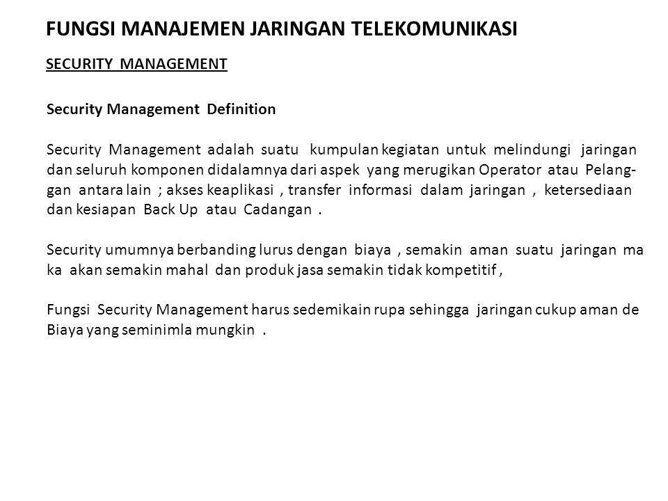 Security Management Definition Security Management adalah suatu kumpulan kegiatan untuk melindungi jaringan dan seluruh komponen didalamnya dari aspek