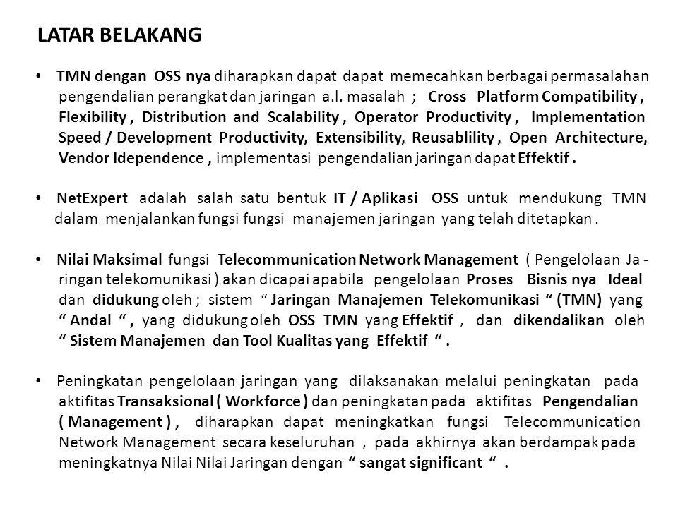 TMN dengan OSS nya diharapkan dapat dapat memecahkan berbagai permasalahan pengendalian perangkat dan jaringan a.l. masalah ; Cross Platform Compatibi
