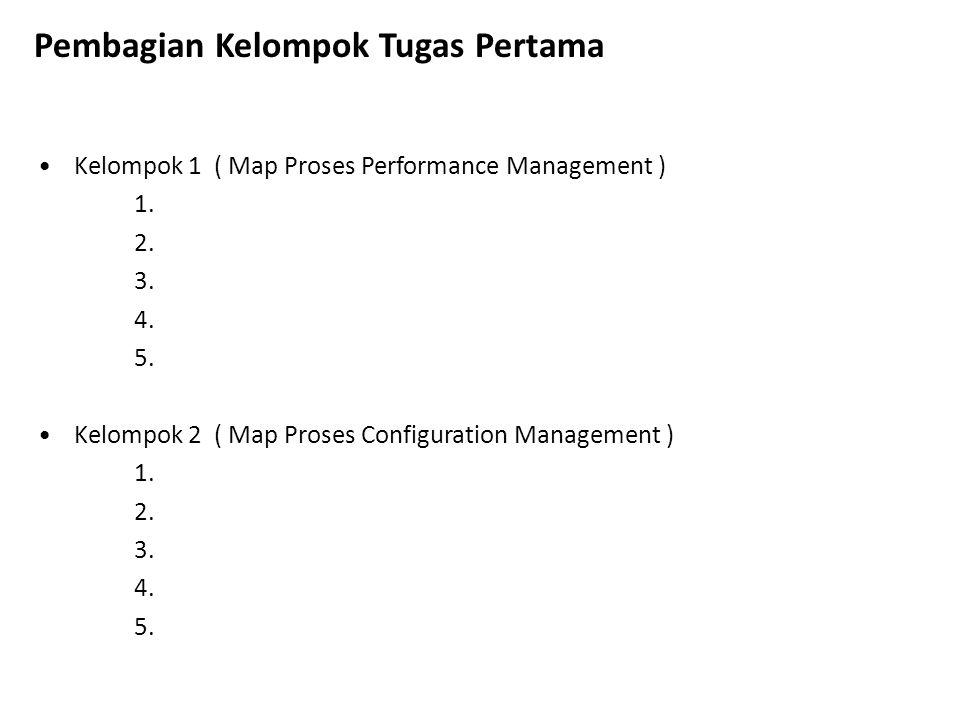 Kelompok 1 ( Map Proses Performance Management ) 1. 2. 3. 4. 5. Kelompok 2 ( Map Proses Configuration Management ) 1. 2. 3. 4. 5. Pembagian Kelompok T