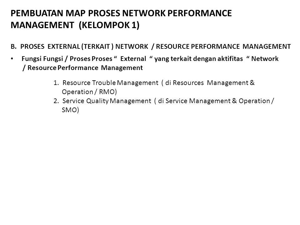 """PEMBUATAN MAP PROSES NETWORK PERFORMANCE MANAGEMENT (KELOMPOK 1) Fungsi Fungsi / Proses Proses """" External """" yang terkait dengan aktifitas """" Network /"""