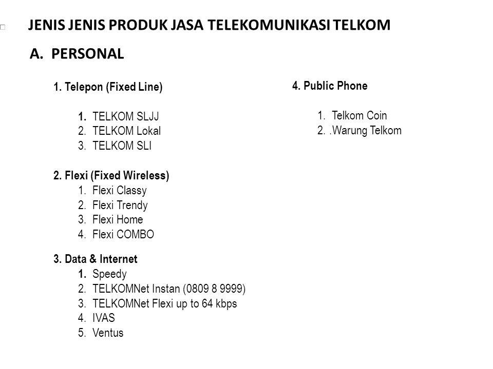 JENIS JENIS PRODUK JASA TELEKOMUNIKASI TELKOM 1. Telepon (Fixed Line) 1. TELKOM SLJJ 2. TELKOM Lokal 3. TELKOM SLI 2. Flexi (Fixed Wireless) 1. Flexi