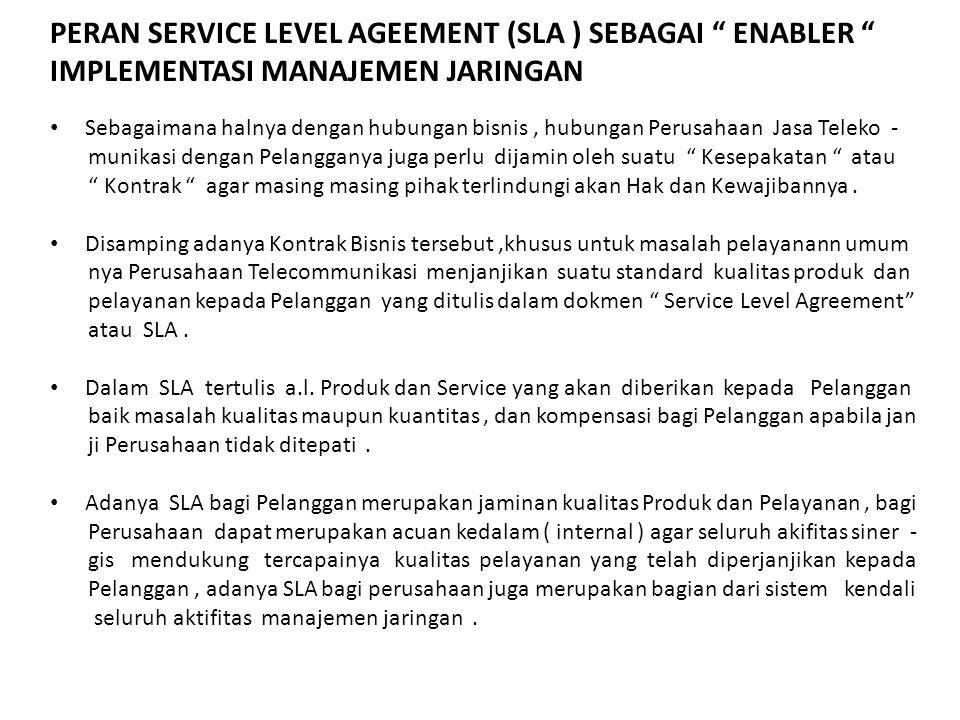 """PERAN SERVICE LEVEL AGEEMENT (SLA ) SEBAGAI """" ENABLER """" IMPLEMENTASI MANAJEMEN JARINGAN Sebagaimana halnya dengan hubungan bisnis, hubungan Perusahaan"""