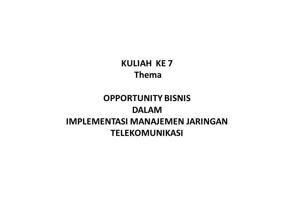 KULIAH KE 7 Thema OPPORTUNITY BISNIS DALAM IMPLEMENTASI MANAJEMEN JARINGAN TELEKOMUNIKASI