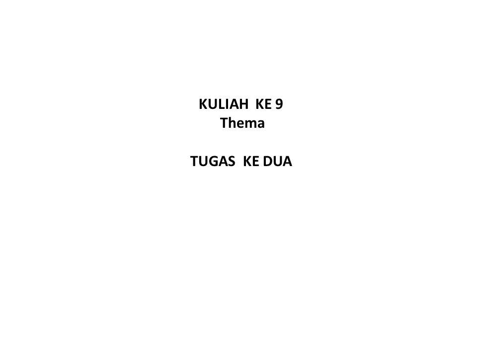 KULIAH KE 9 Thema TUGAS KE DUA