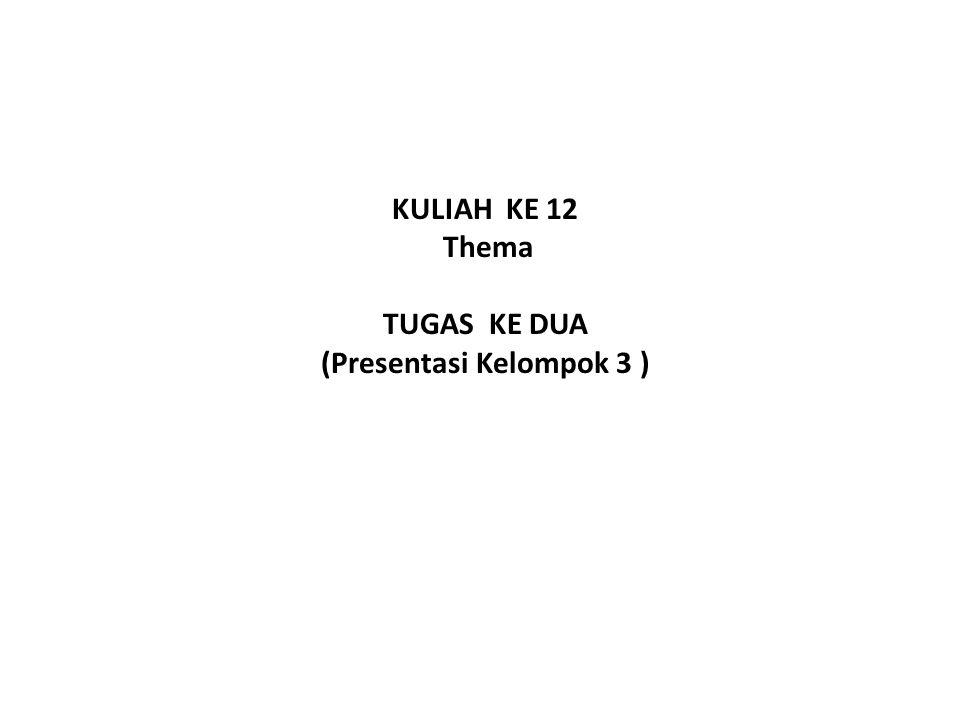 KULIAH KE 12 Thema TUGAS KE DUA (Presentasi Kelompok 3 )