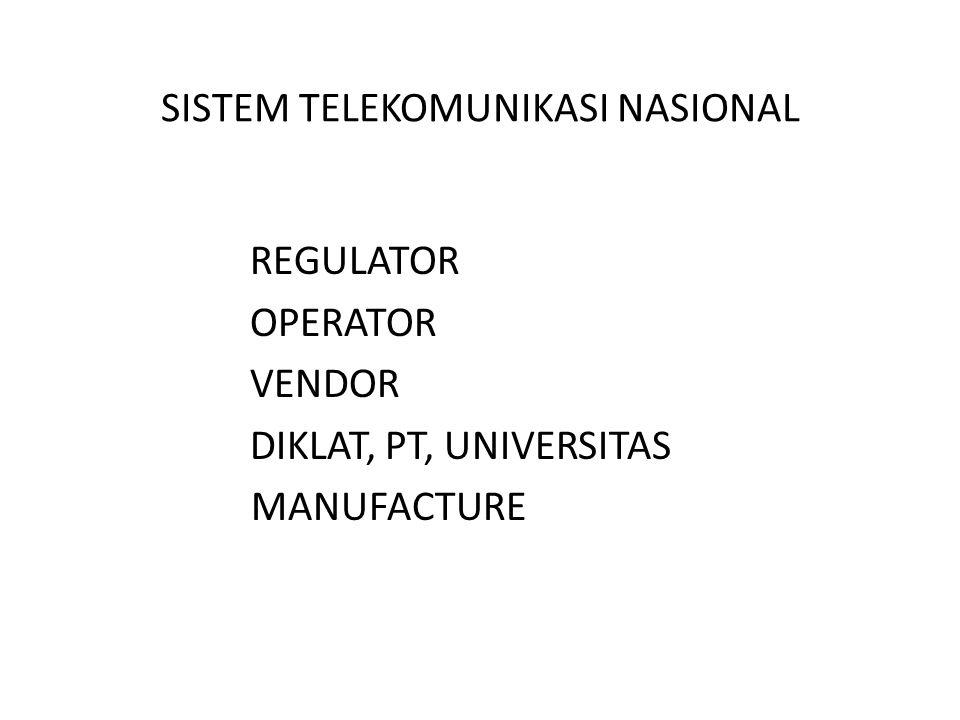 SISTEM TELEKOMUNIKASI NASIONAL REGULATOR OPERATOR VENDOR DIKLAT, PT, UNIVERSITAS MANUFACTURE