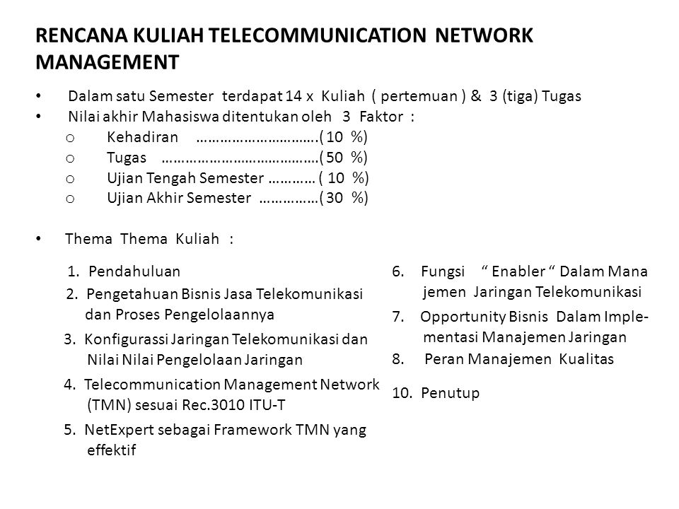 RENCANA KULIAH TELECOMMUNICATION NETWORK MANAGEMENT Dalam satu Semester terdapat 14 x Kuliah ( pertemuan ) & 3 (tiga) Tugas Nilai akhir Mahasiswa dite