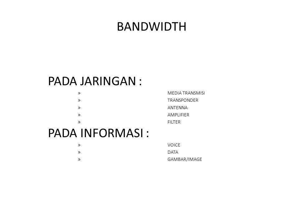 BANDWIDTH PADA JARINGAN : » MEDIA TRANSMISI » TRANSPONDER » ANTENNA » AMPLIFIER » FILTER PADA INFORMASI : » VOICE » DATA » GAMBAR/IMAGE