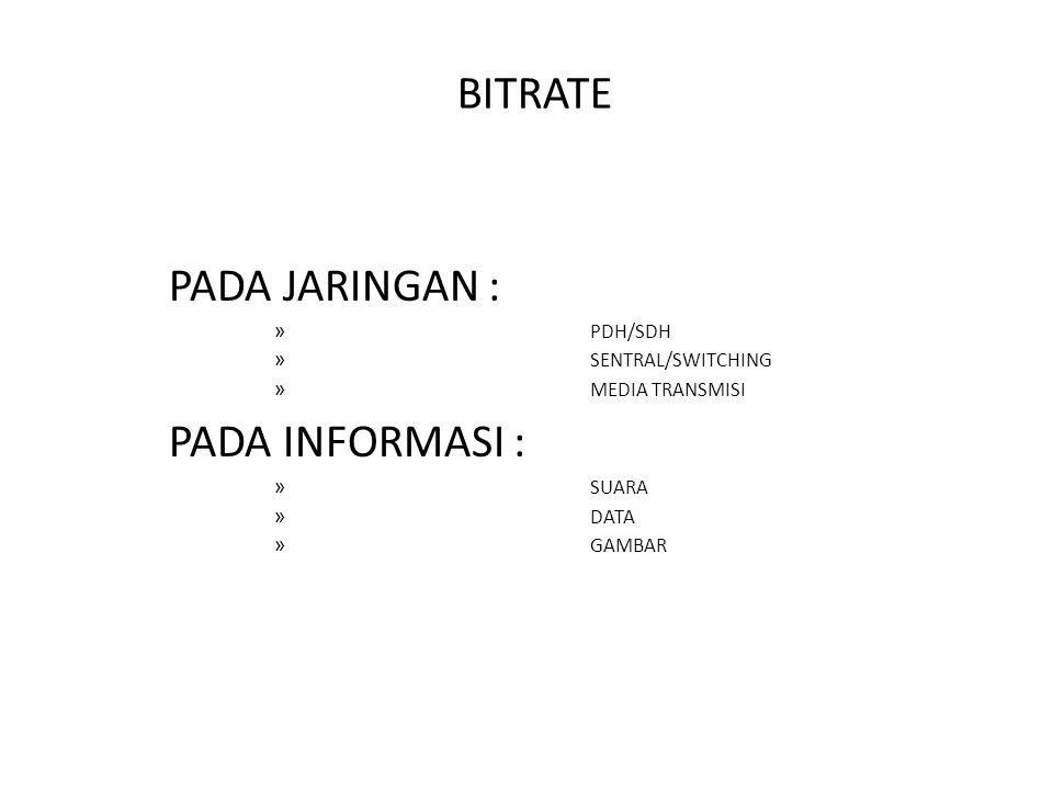 BITRATE PADA JARINGAN : » PDH/SDH » SENTRAL/SWITCHING » MEDIA TRANSMISI PADA INFORMASI : » SUARA » DATA » GAMBAR