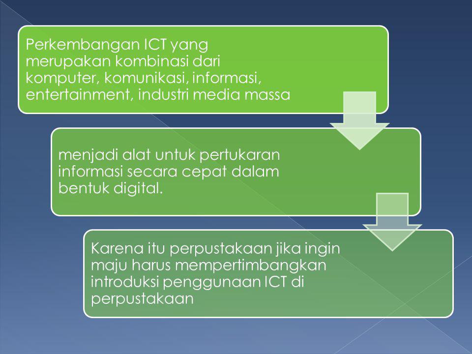 Perkembangan ICT yang merupakan kombinasi dari komputer, komunikasi, informasi, entertainment, industri media massa menjadi alat untuk pertukaran informasi secara cepat dalam bentuk digital.
