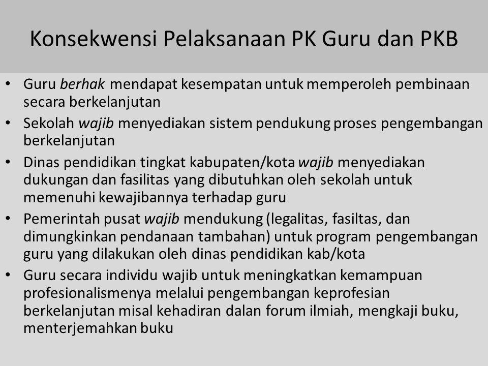 Konsekwensi Pelaksanaan PK Guru dan PKB Guru berhak mendapat kesempatan untuk memperoleh pembinaan secara berkelanjutan Sekolah wajib menyediakan sist