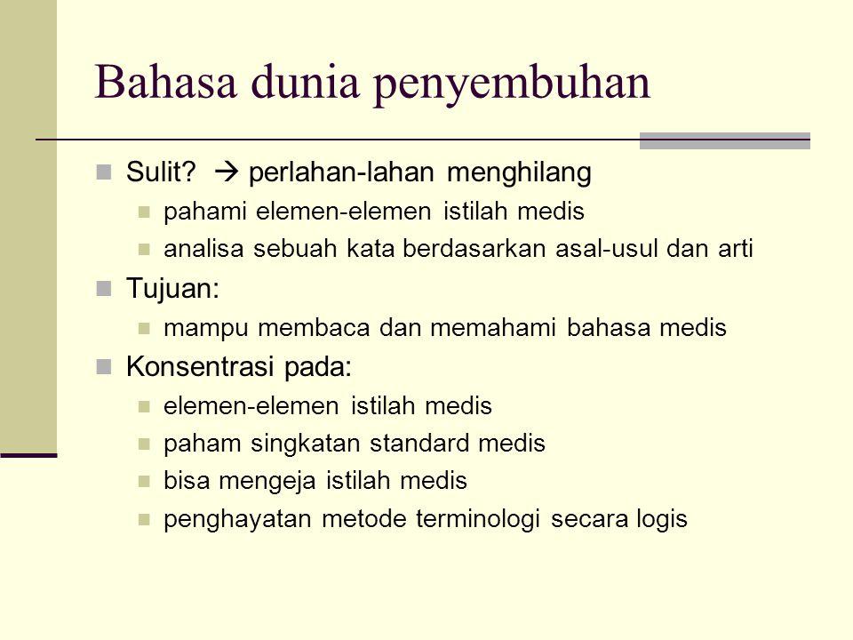 Bahasa dunia penyembuhan Sulit?  perlahan-lahan menghilang pahami elemen-elemen istilah medis analisa sebuah kata berdasarkan asal-usul dan arti Tuju