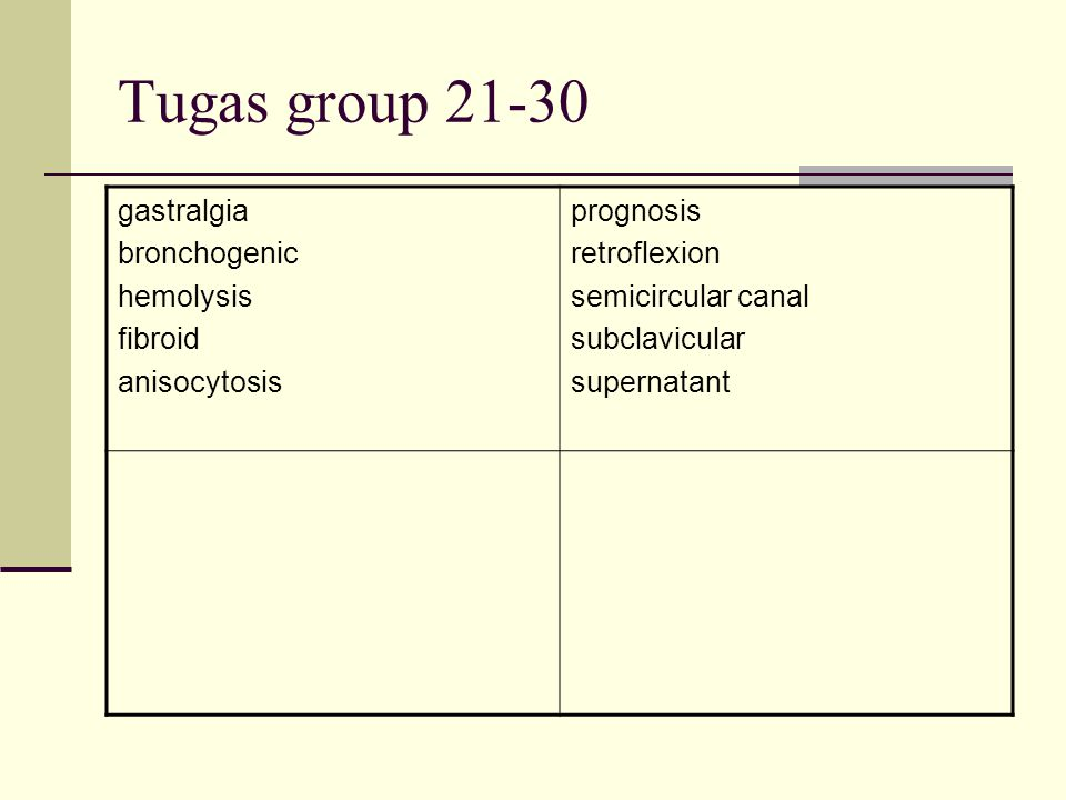 Tugas group 21-30 gastralgia bronchogenic hemolysis fibroid anisocytosis prognosis retroflexion semicircular canal subclavicular supernatant