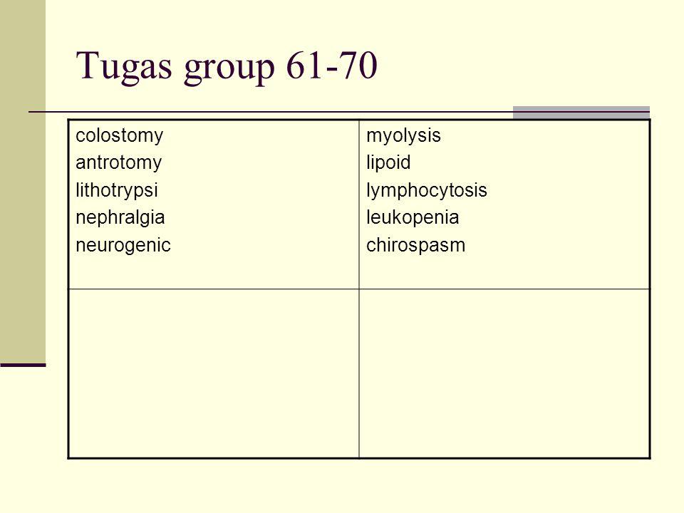 Tugas group 61-70 colostomy antrotomy lithotrypsi nephralgia neurogenic myolysis lipoid lymphocytosis leukopenia chirospasm