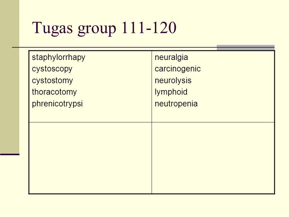 Tugas group 111-120 staphylorrhapy cystoscopy cystostomy thoracotomy phrenicotrypsi neuralgia carcinogenic neurolysis lymphoid neutropenia