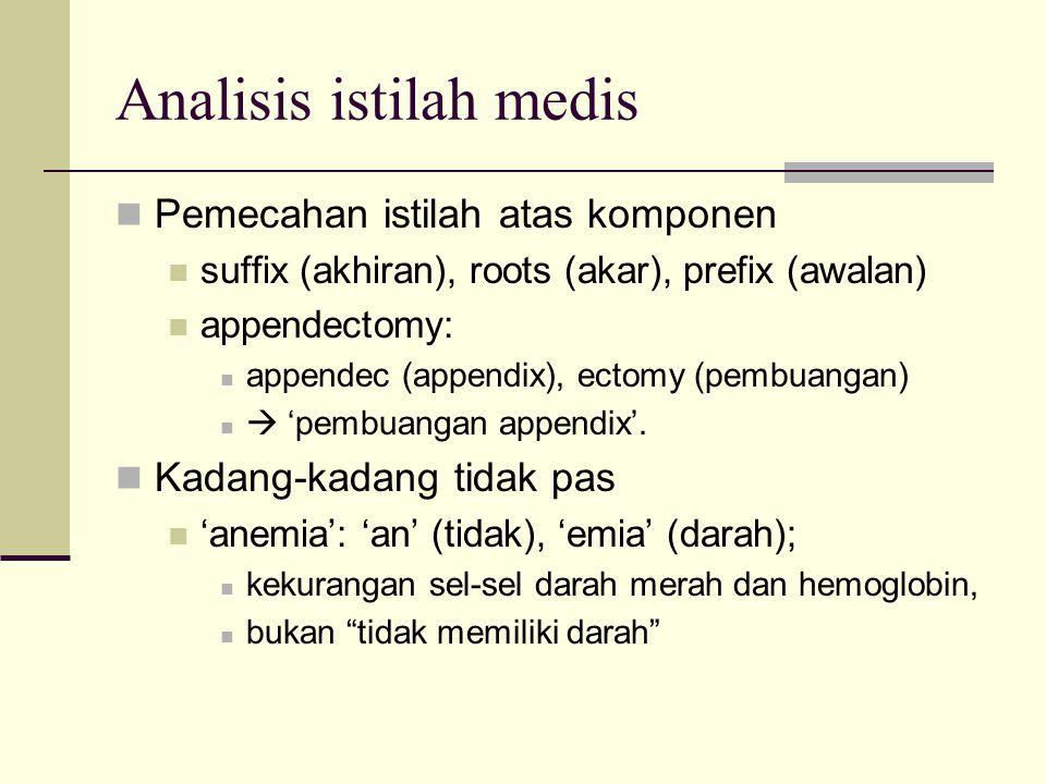Analisis istilah medis Pemecahan istilah atas komponen suffix (akhiran), roots (akar), prefix (awalan) appendectomy: appendec (appendix), ectomy (pemb