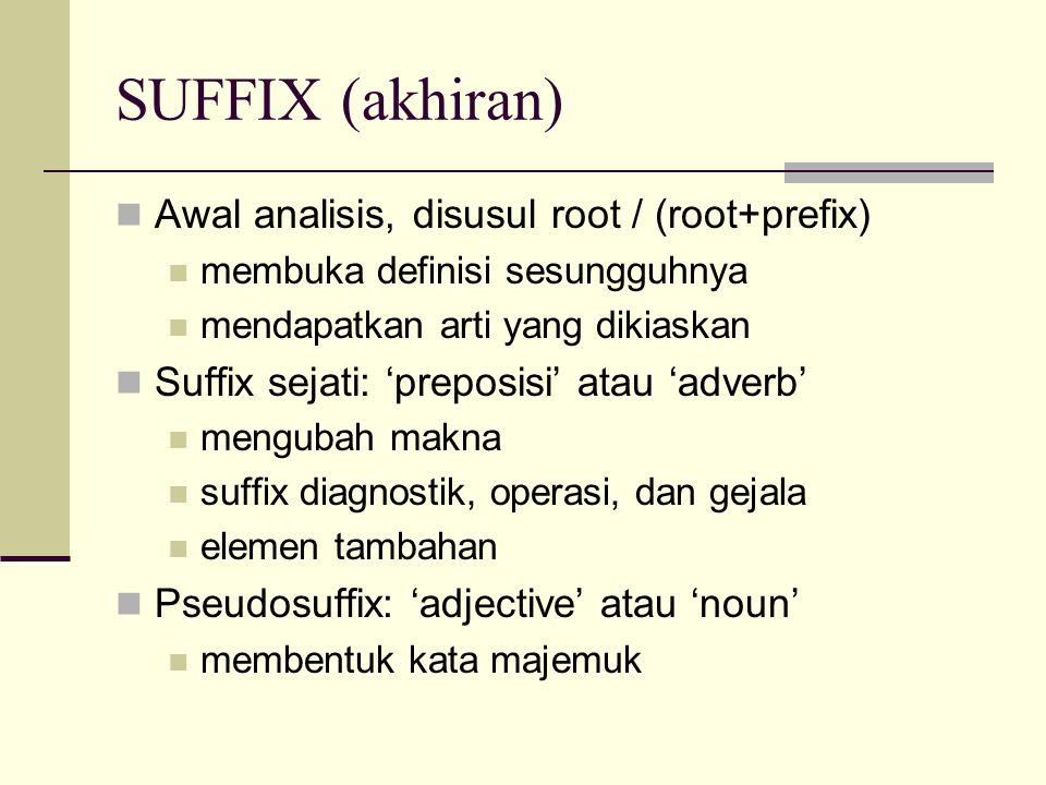 SUFFIX (akhiran) Awal analisis, disusul root / (root+prefix) membuka definisi sesungguhnya mendapatkan arti yang dikiaskan Suffix sejati: 'preposisi'