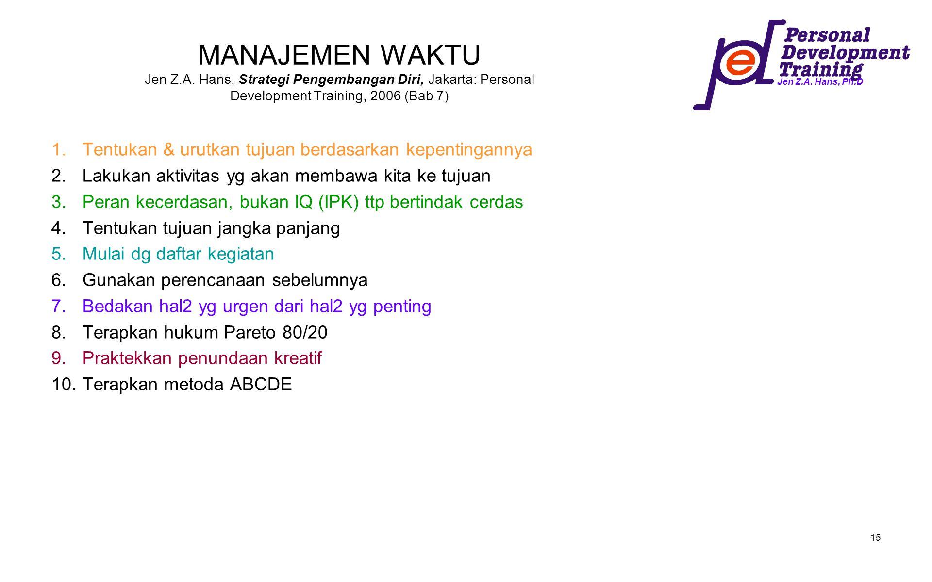 Jen Z.A. Hans, Ph.D 15 MANAJEMEN WAKTU Jen Z.A. Hans, Strategi Pengembangan Diri, Jakarta: Personal Development Training, 2006 (Bab 7) 1.Tentukan & ur