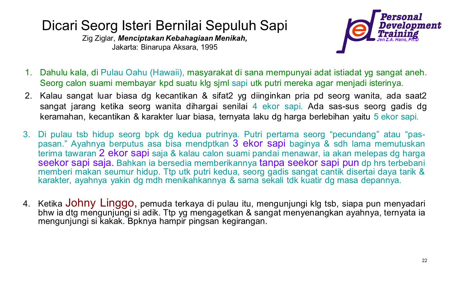 Jen Z.A. Hans, Ph.D 22 Dicari Seorg Isteri Bernilai Sepuluh Sapi Zig Ziglar, Menciptakan Kebahagiaan Menikah, Jakarta: Binarupa Aksara, 1995 1.Dahulu